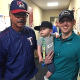 Sam's first clubhouse visit with his dad and Geno Petralli